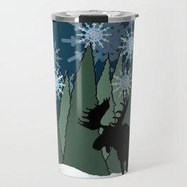 Moose in the Snowy Forest Travel Mug