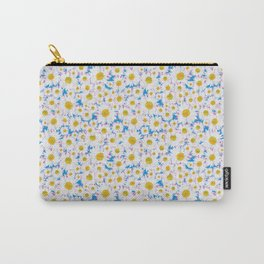 Ditsy Daisies on Blue Carry-All Pouch