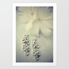 Diamnond / Crystal Earrings and feather flower Art Print