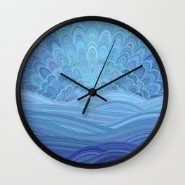 Blue Mandala Sunset at the Ocean Wall Clock