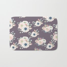 Dog Rose Pattern  Mauve Bath Mat