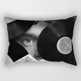 Long-playing Records and Covers in Black and White - Good Memories #decor #society6 #buyart Rectangular Pillow