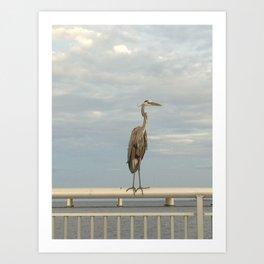 Crane on Railing Art Print
