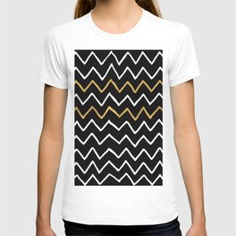 Writing Exercise-Simple Zig Zag Pattern- White Gold on Black -Mix & Match with Simplicity of life T-shirt