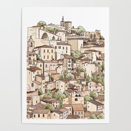 Un village francais - Avignon City sketch Poster