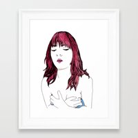 redhead Framed Art Prints featuring Redhead by Margret Stewart