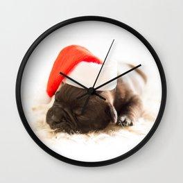 french buldog 2 Wall Clock