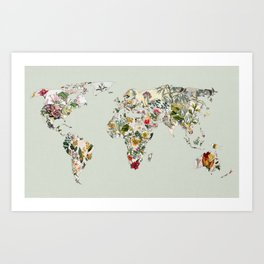Vintage Botanical World Green Art Print