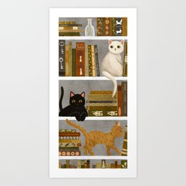 cat bookshelf Art Print