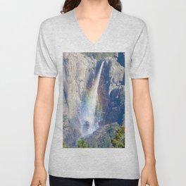 Bridalveil Falls with a Rainbow Unisex V-Neck