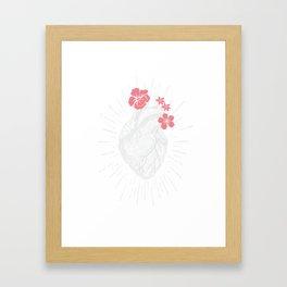 Womens Vintage Human Heart print Heart Floral design for women Framed Art Print