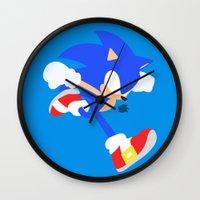 sonic Wall Clocks featuring Sonic(Smash) by ejgomez