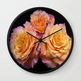 Orange Free Spirit Roses Wall Clock