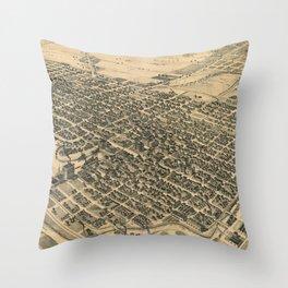 Vintage Pictorial Map of Stockton California (1895) Throw Pillow