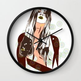 Sultry Disposition, Fashion Earth Tones Illustration Wall Clock