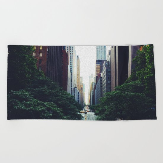 New York City Street Skyscapers Travel Wanderlust #tapestry Beach Towel