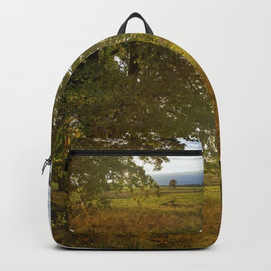 Autumn Countryside Landscape Sunset Backpack