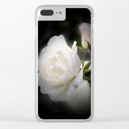white rose and rosebud on black Clear iPhone Case
