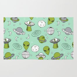 Alien outer space cute aliens french fries rad sodas pattern print mint Rug