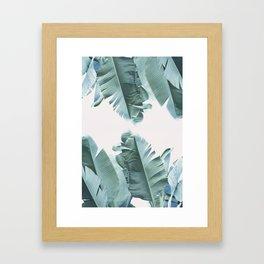 Blue Tropical Banana Leaf Plant Framed Art Print
