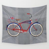 british Wall Tapestries featuring British Bicycle by Wyatt Design