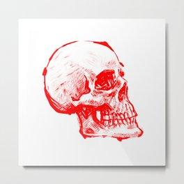 RED INK SKULL Metal Print