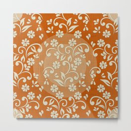 """Beige Flowers & Orange Texture"" Metal Print"
