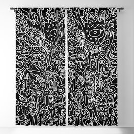 Black and White Street Art Tribal Graffiti Blackout Curtain