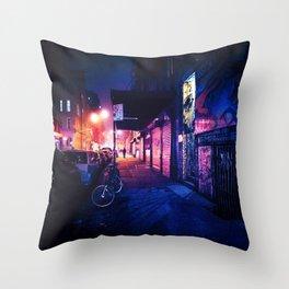 Lower East Side - Night on Rivington Street Throw Pillow