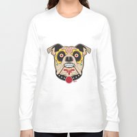 pit bull Long Sleeve T-shirts featuring Pit Bull Sugar Skull by Granman