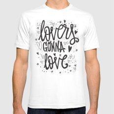 LOVERS GONNA LOVE White Mens Fitted Tee MEDIUM