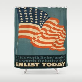 Vintage poster - Enlist Today Shower Curtain