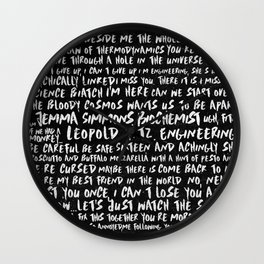 FitzSimmons Phrases in Black & White/2 Wall Clock
