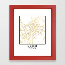 MADRID SPAIN CITY STREET MAP ART Framed Art Print