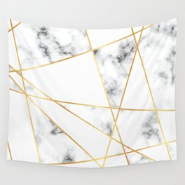 Stone Effects White and Gray Marble with Gold Accents Wall Tapestry