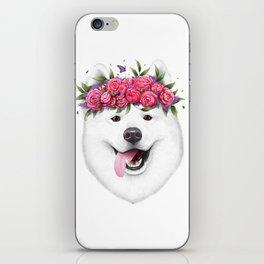 Samoyed with flowers iPhone Skin