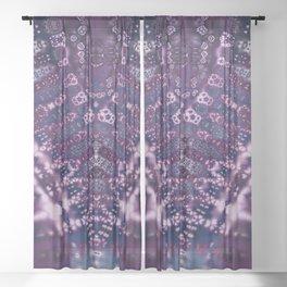Purple Fractal Lace V Shape Sheer Curtain