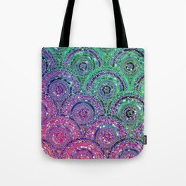 Pink Purple Blue and Green Sparkling Glitter Circles and Dots Tote Bag