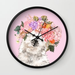 Baby Polar Bear with Flowers Crown Wall Clock