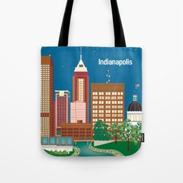Indianapolis, Indiana - Skyline Illustration by Loose Petals Tote Bag