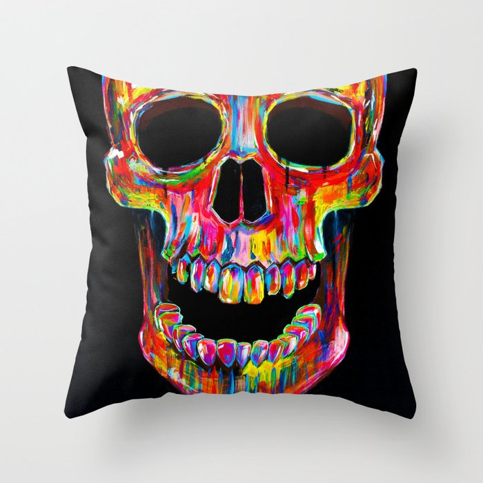 Chromatic Skull Throw Pillow