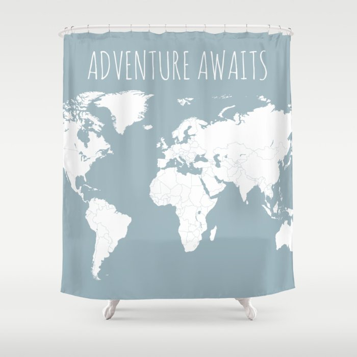 Adventure Awaits World Map In Slate Blue Shower Curtain By Paperplaneprints