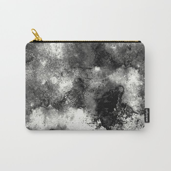 Deja Vu - Black and white, textured painting Carry-All Pouch
