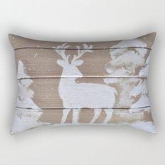 Wood slat deer in the snowy woods Rectangular Pillow