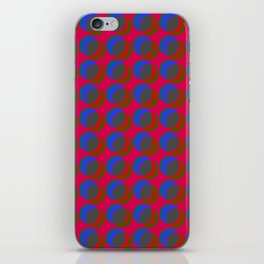 B.L.I.N.K. - optical illusion in red and blue iPhone Skin