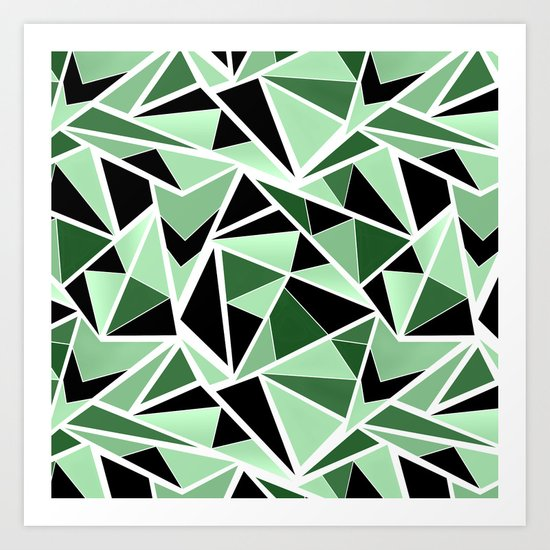 Abstract geometric pattern in black and green tones .Triangles . Art Print
