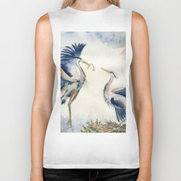 Great Blue Heron Couple Biker Tank