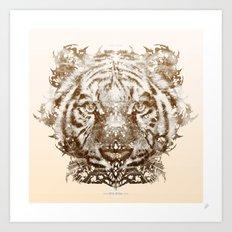 The White Tiger (Gold Version) Art Print
