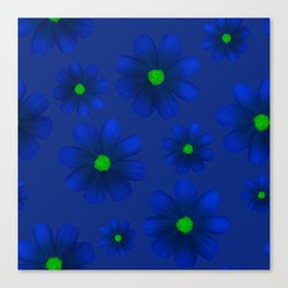 Blue Flowers Beautiful Pattern Canvas Print
