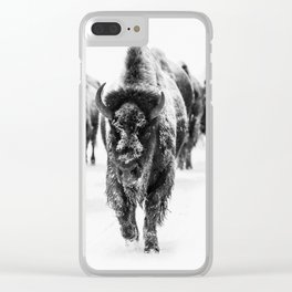 Bisons, black and white Clear iPhone Case